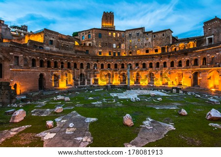 A panoramic view on Trajan's Market, a part of the imperial forum of Rome, Italy