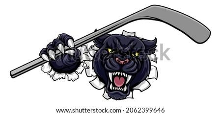 A panther ice hockey player animal sports mascot holding a hockey stick