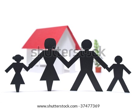 A paper family is holding hands beside their new paper house.