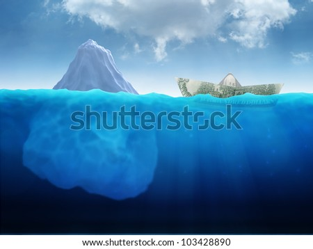 A paper ship made out of a Dollar banknote heading into an iceberg - stock photo