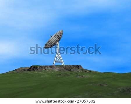 A parabolic antenna on a mountain
