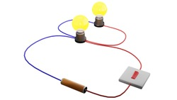 A parallel circuit in 3D rendering. A parallel circuit has two or more paths for current to flow through. Voltage is the same across each component of the parallel circuit.