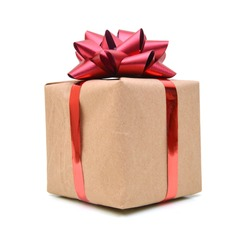 A parcel gift box with red ribbon