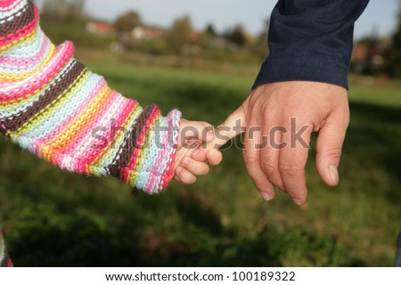A parent holding the hand of its child while walking in a park............