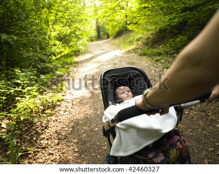 A parent pushes a baby carriage along a wooded path. Horizontally framed shot.