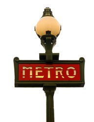 A Paris Metro sign isolated on white