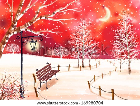 A park bench sitting in a snowy pathway with a light post hovering above.