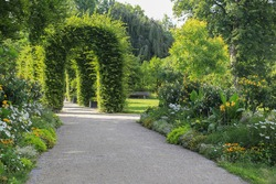 A park recreation area with archways with climbing plants and with patches with colorful flowers vintage garden design and landscaping