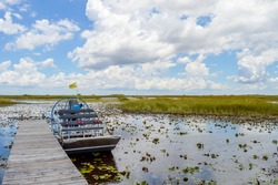 A parking airboat at the Everglades