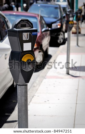 a parking meter on the line of meers - stock photo