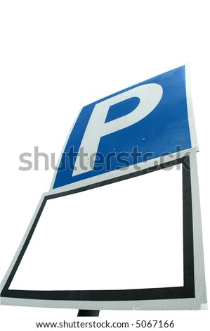 A parking sign with a blank white space for custom text and work path included - stock photo