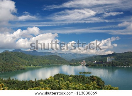 A partial view of the beautiful Sun Moon Lake in central Taiwan