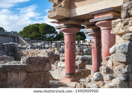 A partially reconstructed temple at the ancient site of Knossos in Crete