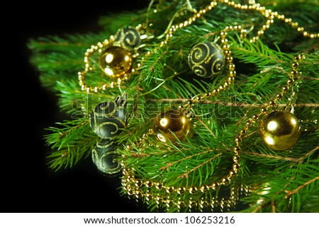 A particular of a Christmas tree with decorations.christm as - stock photo