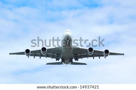 A380 passenger aircraft on landing approach at Farnborough Airshow 2008