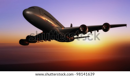 A passenger plane in the sky