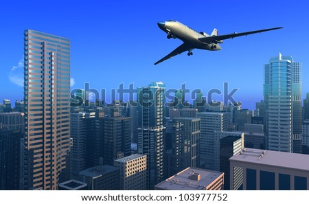 A passenger plane over the city. - stock photo