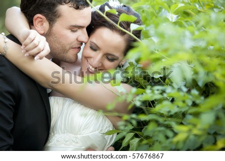 A passionate approaching between a just married couple