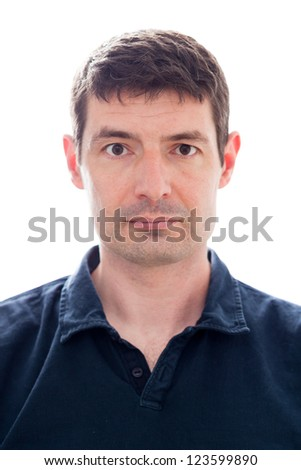 A passport photo of a late thirties white male in a dark blue polo shirt.