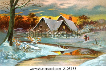 A Pastoral Winter Scenic - a circa 1910 vintage illustration.