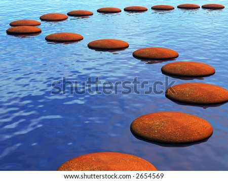 A path across the river made from stepping stones