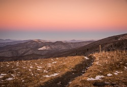 A path leads hikers along the Appalachian trail at Roan Mountain. this shot was taken after sunset in a brisk cold and windy day.