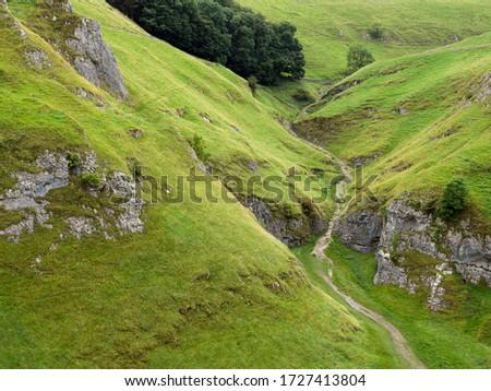 A path through the Secret Valley, Hope Valley, Derbyshire, Peak District National Park, England