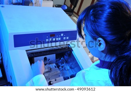 A pathologist working on frozen unit. A series of laboratory related pictures.
