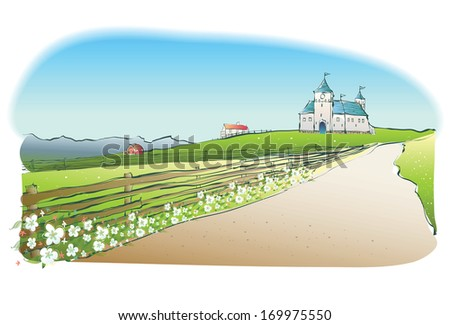A pathway with a wood fence and flowers leading to a castle.