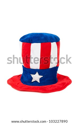 A patriotic fourth of July hat on a white background.  Can be used for Labor Day and Memorial Day as well.