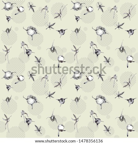A pattern made of isolated handmade watercolor elements ( botanical elements, geometric elements). Illustration.
