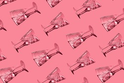 A pattern of champagne glasses on a pink background. Christmas seamless pattern