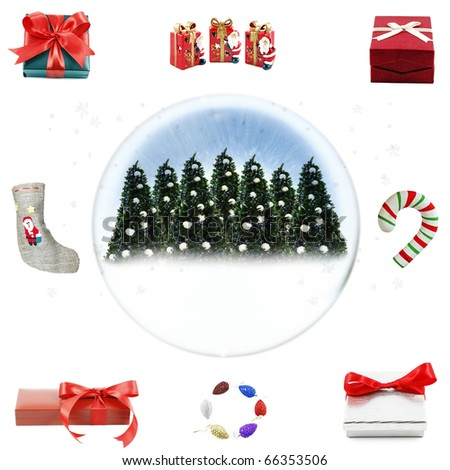 A pattern of isolated cutout of a snow globe with Christmas trees surrounded by gifts and presents.