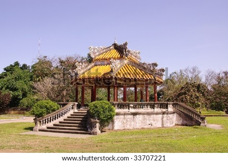 A pavilion in the forbidden city in Hue in Vietnam