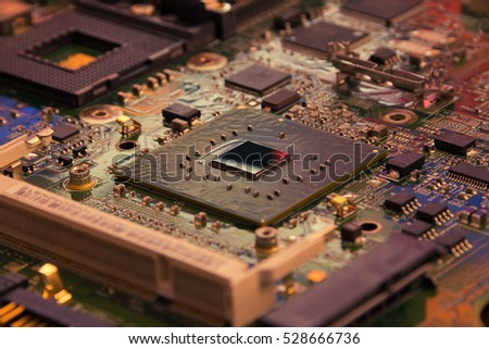 A PCB with a CPU, sockets, processors, passive elements and other stuff #528666736