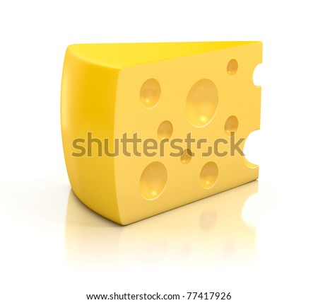 A peace of cheese over white background 3d illustration