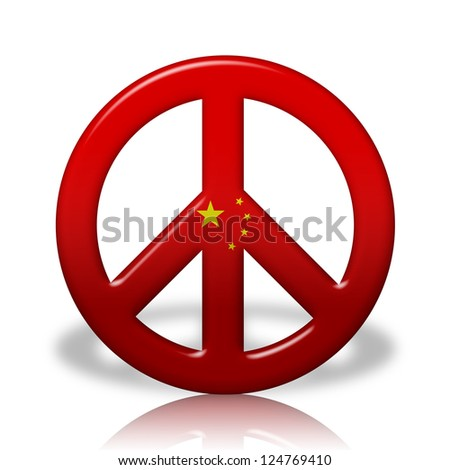 A Peace Sign Symbol in 3D flag colors of China,  Peace in China