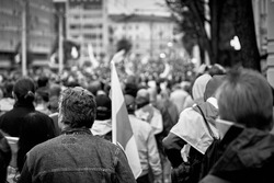 A peaceful demonstration against the presidential inauguration