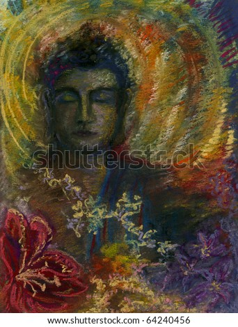 A Peaceful Head of the Buddha with a Halo of Gold and Flowers in the Foreground. Original Pastel Drawing.
