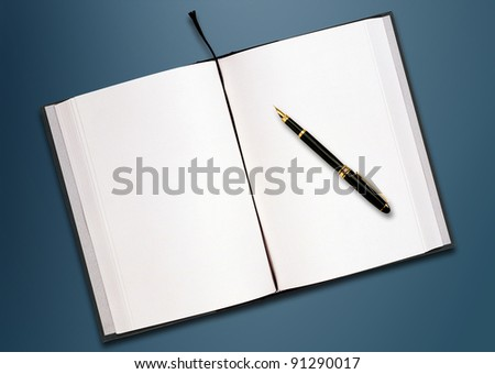 a pen and blank paper of open book on the table