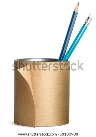 a pen, pencil pot wrapped up in brown paper