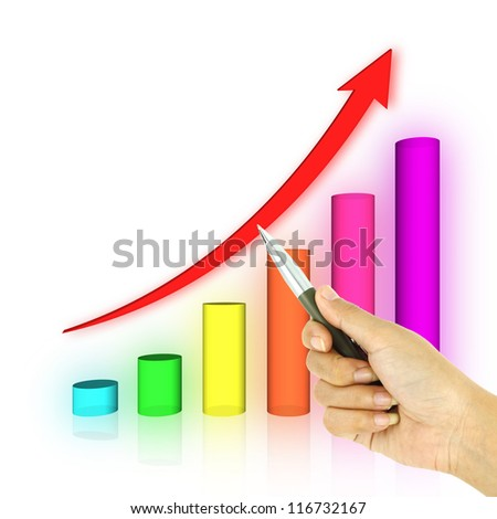 a pen pointing 3d arrow and bar graph