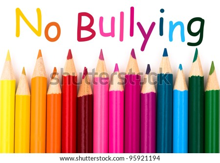 A pencil crayon border isolated on white background with words No Bullying