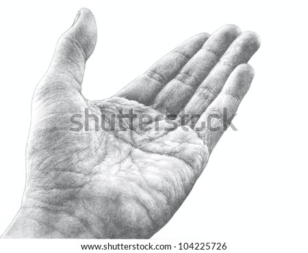 A pencil drawn illustration of a hand that is well worn