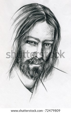 A pencil portrait of Jesus Christ.
