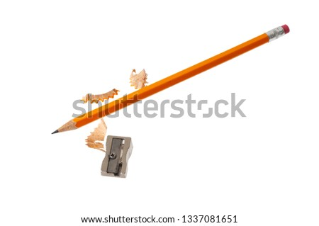 A pencil with shavings after being sharpened with a small hand sharpener.