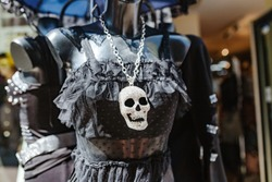 a pendant in the form of a skull, a concept of fashion and jewelry for the goths and metalheads