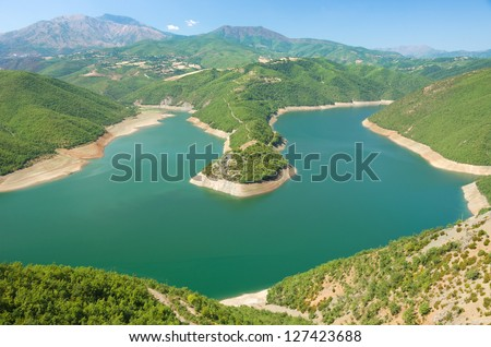 a peninsula of Fierza Lake around Kukes in northeast Albania