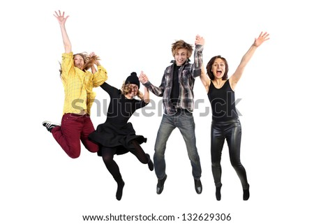 A people group jumping for happiness and joy with the raised hands. Isolated on white background