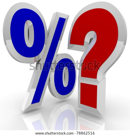 A percentage symbol stands beside a question mark, illustrating the questioning of whether a certain interest percent rate is best or if more comparisons and searching should be done